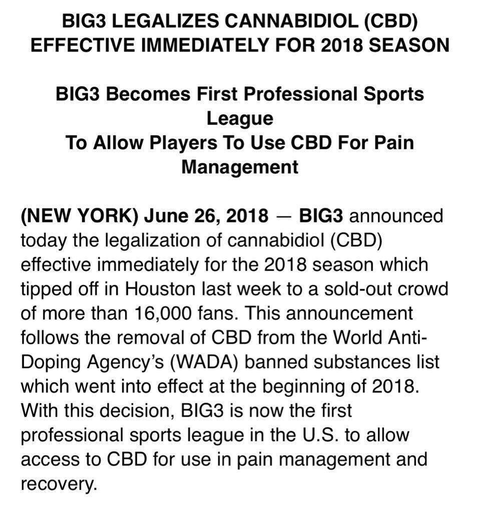Big3 Sports League Legalizes CBD